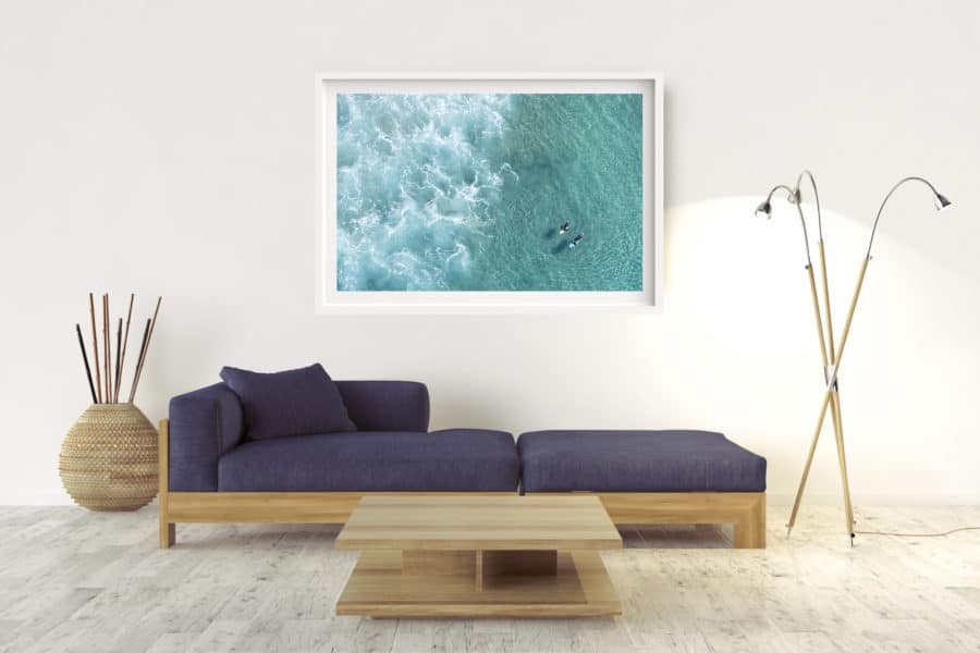 Suffolk Surfers | Byron Bay - Box Frame (White) - Border