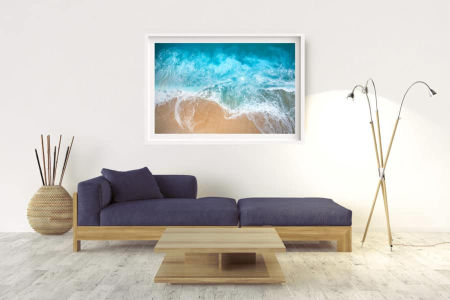 Verge | Pacific Ocean - Box Frame - White - With Border